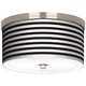 Black Horizontal Stripe Nickel 10 1/4 inch Wide Ceiling Light