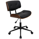 Lombardi Bentwood Black Faux Leather Swivel Office Chair