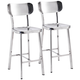 Zuo Winter 24 1/2 inch Stainless Steel Counter Chair Set of 2