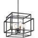 Kichler Taubert 18 inch Wide Black Steel Open-Cube 4-Light Pendant
