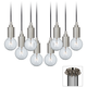 Europa Clear Globe Bulb Brushed Nickel Multi Light Pendant