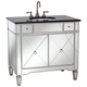 Mirrored and Black Granite 36 inch Wide Bathroom Sink Vanity