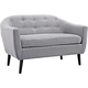 Wit Light Gray Fabric Tufted Loveseat