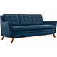 Beguile Azure 83 1/2 inch Wide Fabric Tufted Sofa