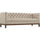 Panache Beige 84 inch Wide Fabric Tufted Sofa