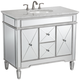 White Carrara Marble 40 inch Wide Mirrored Single Sink Vanity