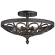Kathy Ireland La Romantica Black Iron Ceiling Light