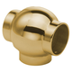 3-Tube Ball T-Connector-Polished Brass
