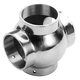 4-Tube Ball Cross Connector-Polished Stainless Steel