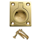 1-1/4''W Rectangular Recessed Ring Pull, Polished Brass
