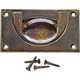 3-5/8''W Rectangular Recessed Pull, Antique Brass