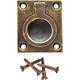1-1/4''W Rectangular Recessed Ring Pull, Antique Brass