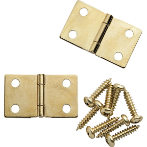 Polished Brass Narrow Fixed Pin Hinge 1-1//2 X 7//8