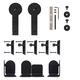 Rolling Barn Door Hardware Kit, Black, Round Stick