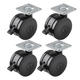 4-Pack of Heavy-Duty Twin Wheel Locking Casters, Plate Mounted, 2-15/16'' Dia.
