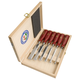 Two Cherries - Set Of Six Bevel Edge Chisels With Plastic Handles In Wooden Box