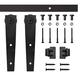 5' Wedge Mini Rolling Door Hardware Kit for Furniture, Black