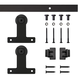Front Mount Mini Rolling Door Hardware Kit for Furniture, Black