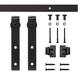 Rectangular Stick Mini Rolling Door Hardware Kit for Furniture, Black