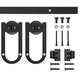 Long Horseshoe Mini Rolling Door Hardware Kit for Furniture, Black