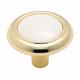 White / Polished Brass Hardware Knob