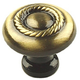 Century Zinc Die Cast, Knob 1-1/4'' dia. Brushed Antique Brass, 21306-AB