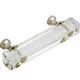 G85 Clear Glass Pull with Polished Nickel Base