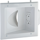 Recessed Wall Plate for Low Voltage Data Cables with Duplex Electrical Outlet