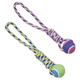 SPOT Rainbow Twister Tennis Ball Tug Rope Dog Toy