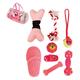 Pet Life 8-Piece Duffle Dog Toy Set Pink