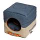 Touchdog Vintage 2in1 Blue/Beige Dog House Bed