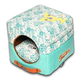 Touchdog Floral Galore 2in1 Teal Dog House Bed