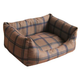 Pet Life Water Resistant Brown Plaid Dog Bed LG