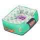 Touchdog Floral Teal Bolster Dog Bed LG