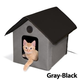 KH Mfg Heated Gray/Black Outdoor Kitty House