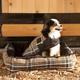 Kensington Deluxe Black Plaid Bolster Dog Bed XL