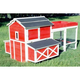 Red Barn Chicken Coop with Rooftop Planter