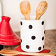 Kate Spade Deco Dot Utensil Crock With 3 Wooden Utensils