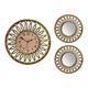 Antique Gold 3-Piece Clock Mirror Set
