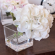 White Hydrangea in Square Glass Vase by Gino Signature