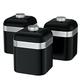 Swan Retro Black Set of 3 Canisters