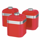 Swan Retro Red Set of 3 Canisters