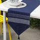 Ricardo Embroidered Navy Blue Pompom Table Linen Collection