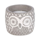 Owl Candle with a Grey and White Pot