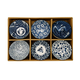 Set of 6 Assorted Design Flower Bowls
