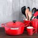 Le Creuset red 6.7 L round casserole