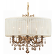 Gramercy 5 Light Golden Teak Swarovski Strass Crystal Brass Drum Shade Mini Chandelier I