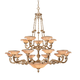 Natural Alabaster 20 Light Bronze Chandelier