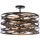 Vortic Flow Semi Flush In Dark Bronze w/Mosaic Gold Inte