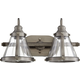 2 Light Banded Cone Vanity In Antique Silver